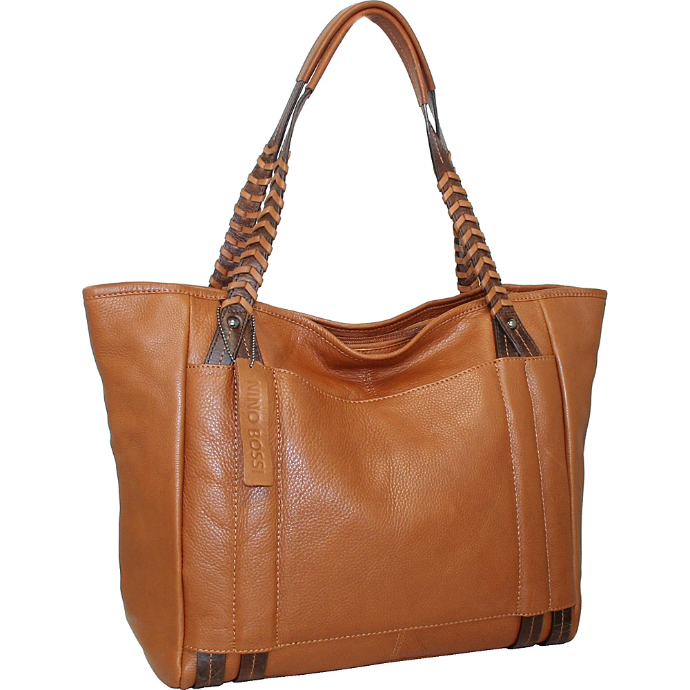 Nino Bossi Tote with Woven Shoulder Strap Cognac - Nino Bossi Leather Handbags