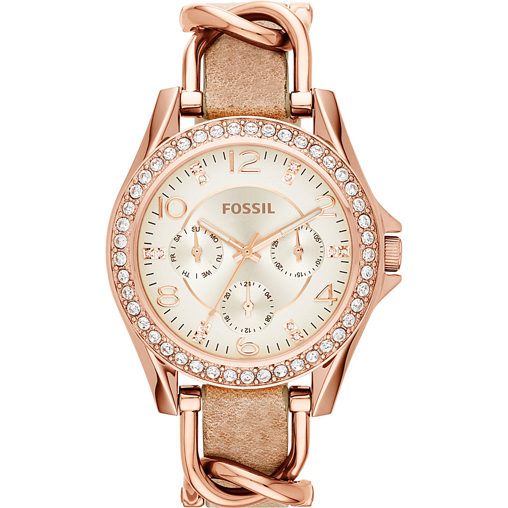 Fossil Riley Multifunction Stainless Steel and Leather Watch Light Brown - Fossil Watches - Fashion Accessories, Watches
