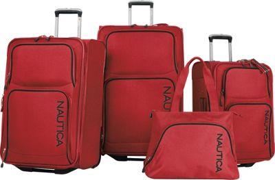 Nautica Catamaran II - Four Piece Luggage Set RED / BLACK - Nautica Luggage Sets