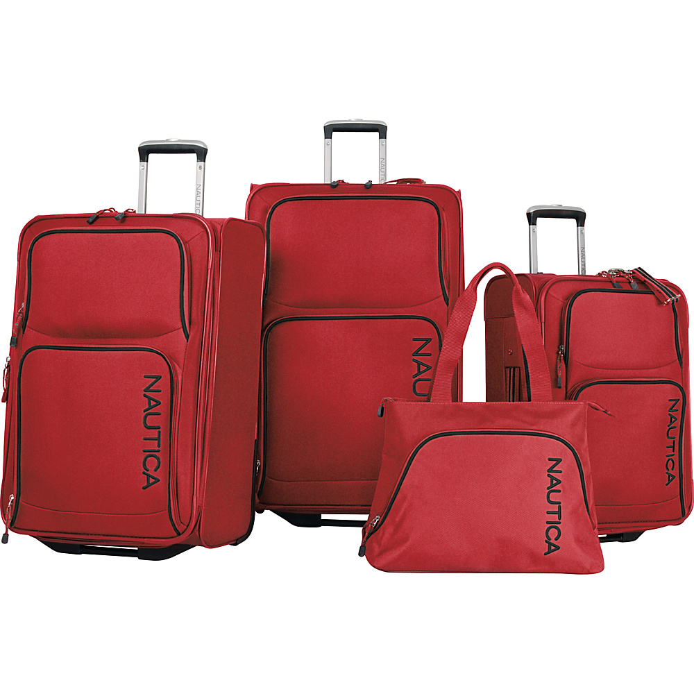 Nautica Catamaran II - Four Piece Luggage Set RED / BLACK - Nautica Luggage Sets