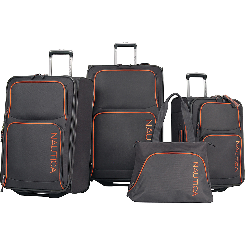Nautica Catamaran II Four Piece Luggage Set Grey Orange Nautica Luggage Sets