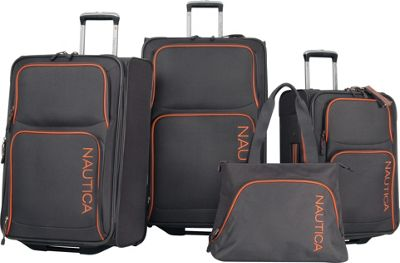 Nautica Catamaran II - Four Piece Luggage Set Grey/Orange - Nautica Luggage Sets