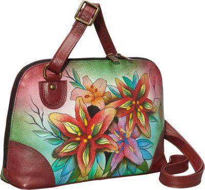 Anuschka Multi Compartment Zip-Around Organizer Luscious Lilies - Anuschka Leather Handbags