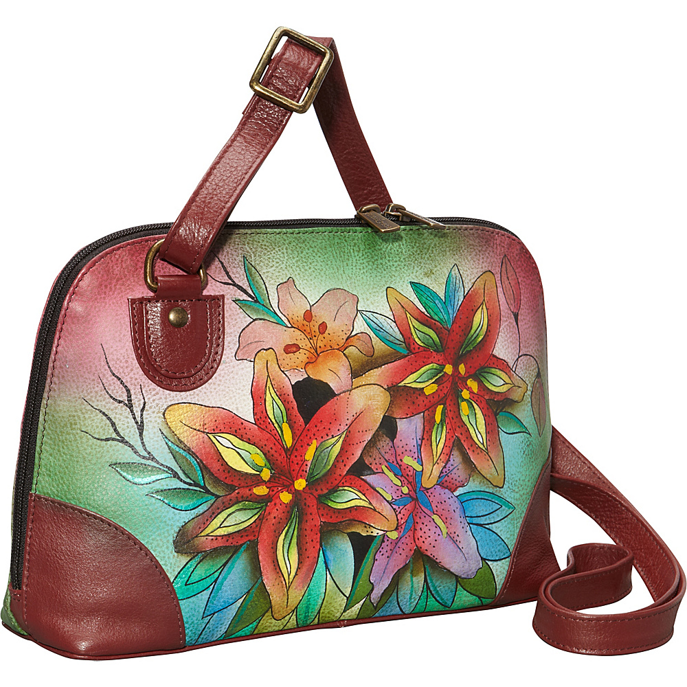 Anuschka Multi Compartment Zip-Around Organizer Luscious Lilies - Anuschka Leather Handbags