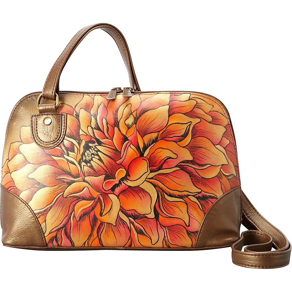 Anuschka Multi Compartment Zip-Around Organizer Dreamy Dahlias Bronze - Anuschka Leather Handbags