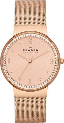 Skagen Klassik Womens Three-Hand Woven Steel Watch Rose Gold - Skagen Watches