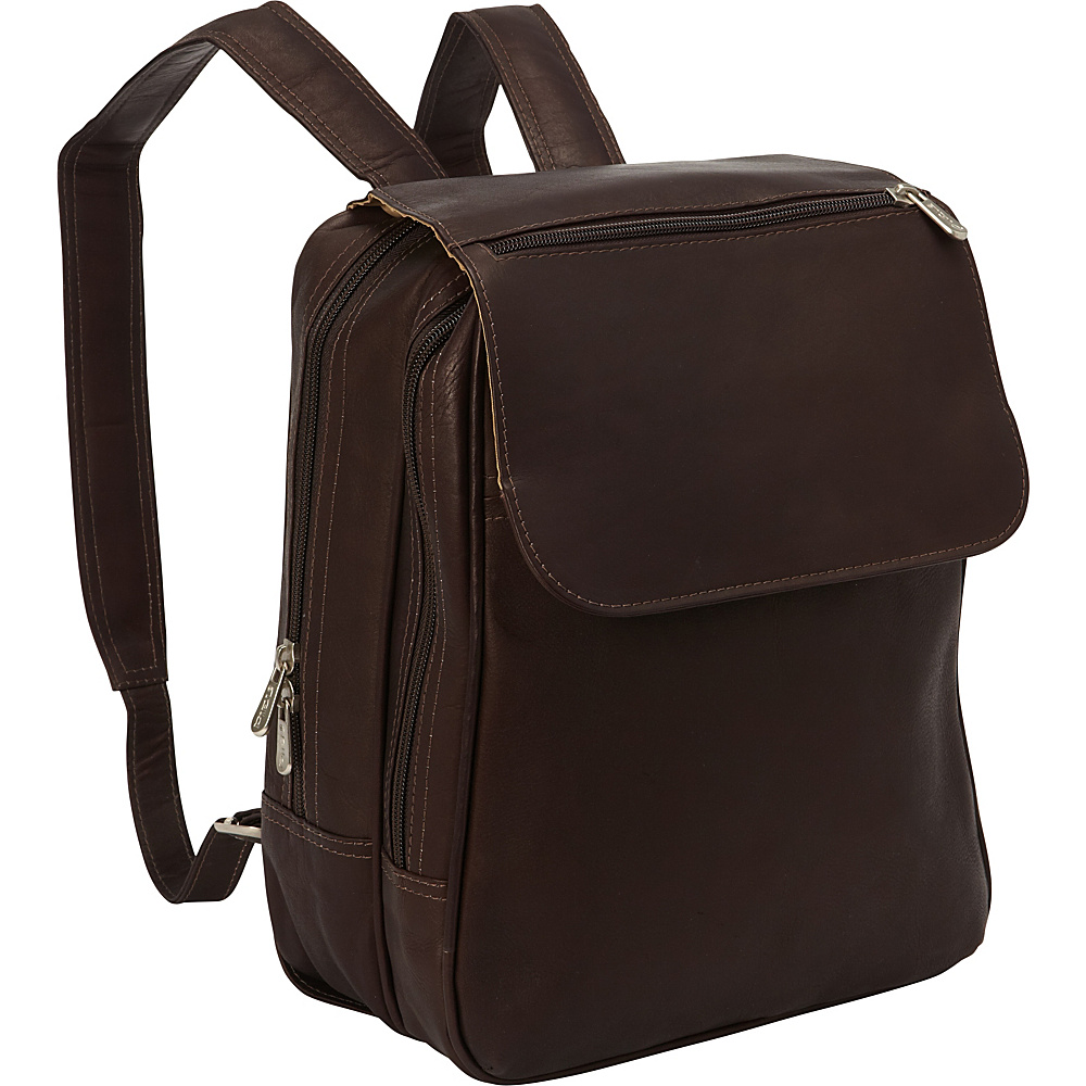 Piel Flap-Over Tablet Backpack Chocolate - Piel Leather Handbags - Handbags, Leather Handbags
