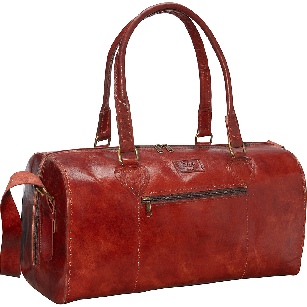 Sharo Leather Bags Red Round Duffle Bag Red - Sharo Leather Bags Rolling Duffels