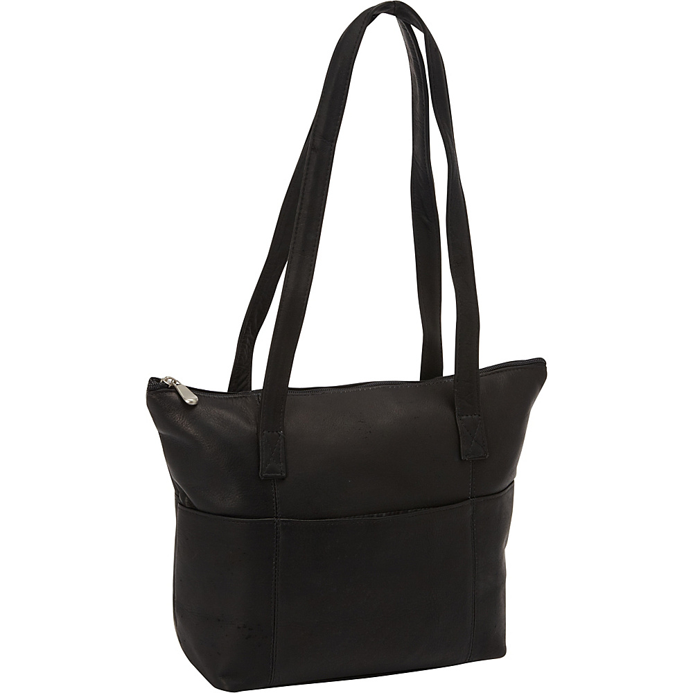 David King & Co. Top Zip Shopping Tote Black - David King & Co. Leather Handbags