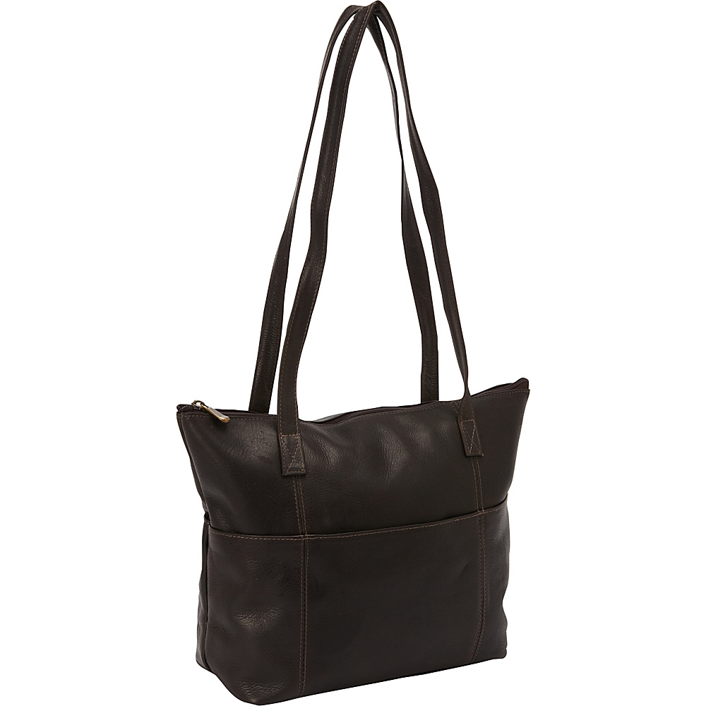 David King & Co. Top Zip Shopping Tote Cafe - David King & Co. Leather Handbags