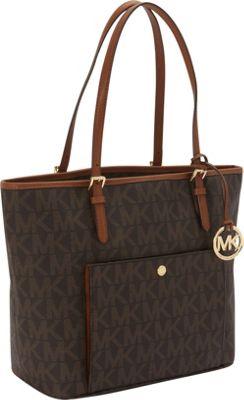 MICHAEL Michael Kors Jet Set Item Large Snap Pocket Tote Bag Brown - MICHAEL Michael Kors Designer Handbags