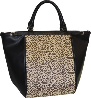 Image of Adrienne Landau Cheetah Print Top Zip Tote Black - Adrienne Landau Leather Handbags