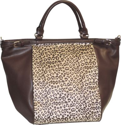 Image of Adrienne Landau Cheetah Print Top Zip Tote Brown - Adrienne Landau Leather Handbags