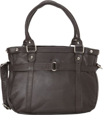 R & R Collections Leather Medium Tote with Detachable Strap Brown - R & R Collections Leather Handbags