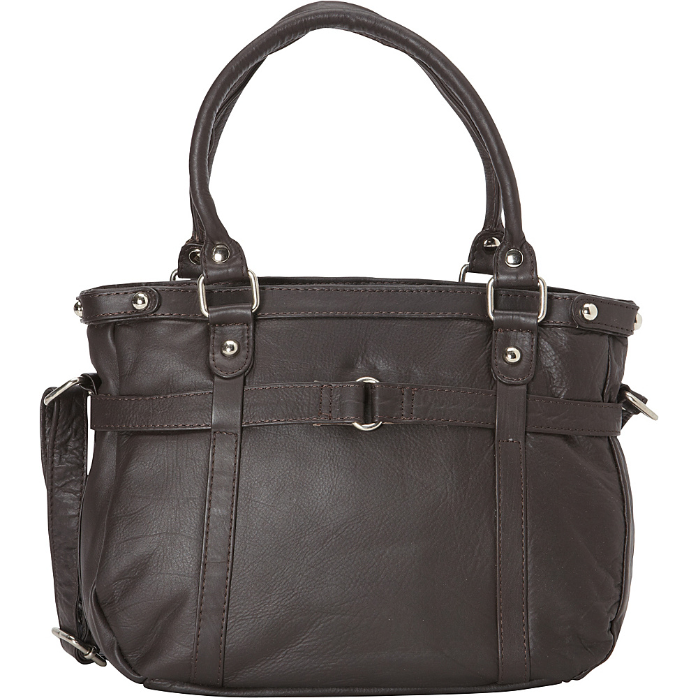 R R Collections Leather Medium Tote with Detachable Strap Brown R R Collections Leather Handbags
