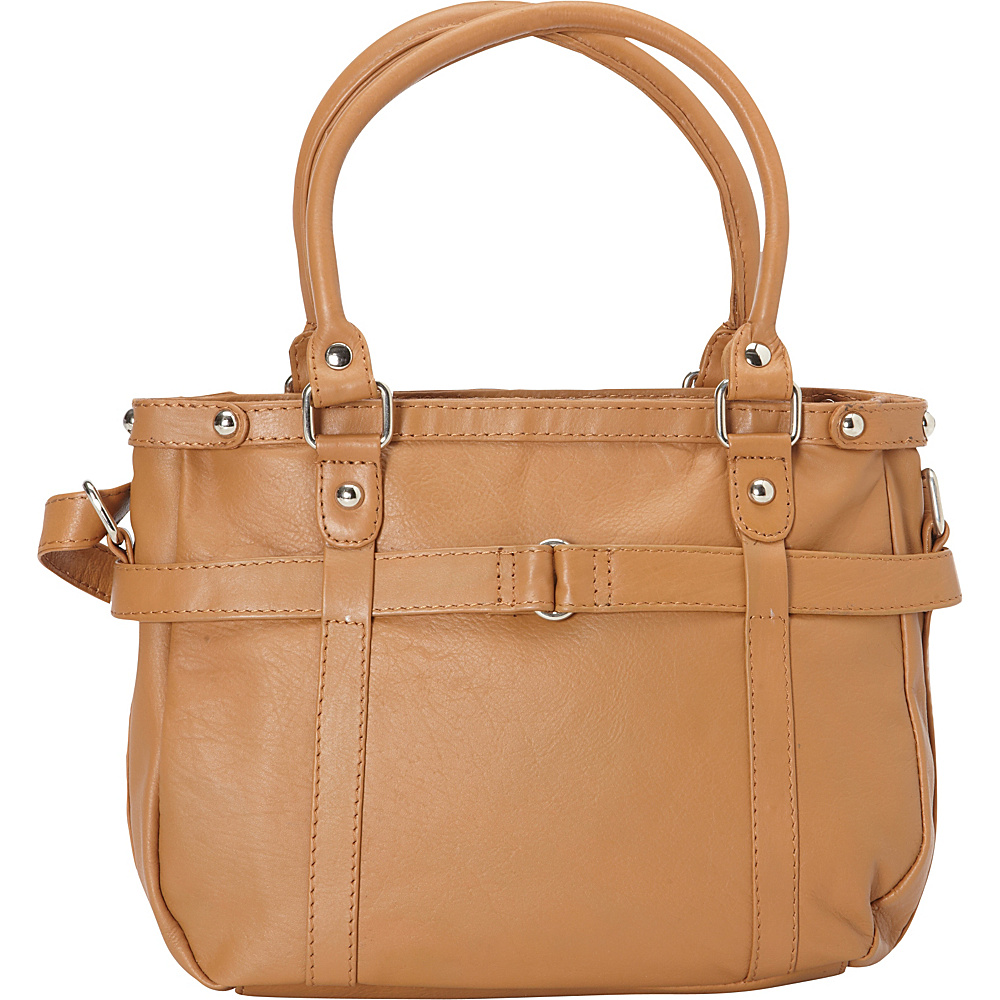 R & R Collections Leather Medium Tote with Detachable Strap Camel - R & R Collections Leather Handbags