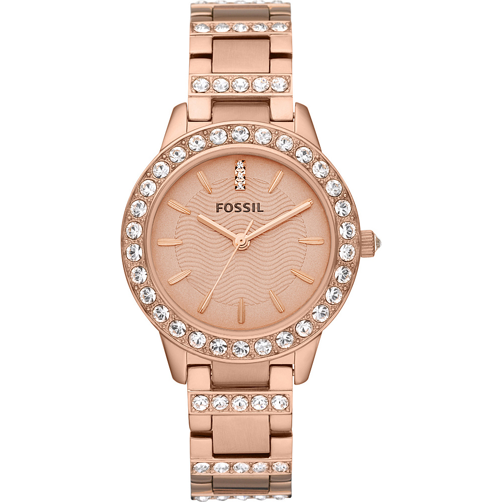 Fossil Jesse Three Hand Stainless Steel Watch Rose Gold/Turquois - Fossil Watches - Fashion Accessories, Watches