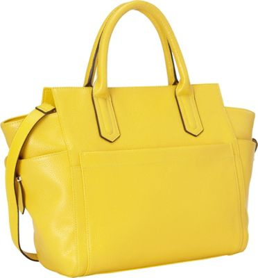 R & R Collections Leather Top Zip Tote Yellow - R & R Collections Leather Handbags