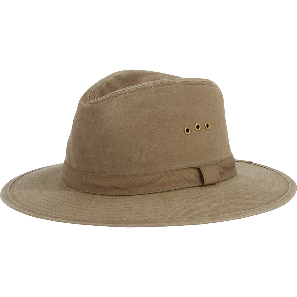 San Diego Hat Distressed Canvas Wide Brim Fedora with Grommets Olive San Diego Hat Hats Gloves Scarves