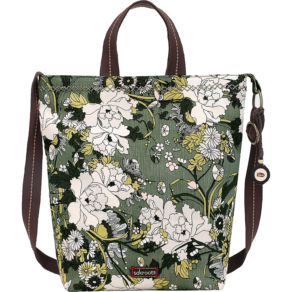 Sakroots Artist Circle Campus Tote Olive Flower Power - Sakroots Fabric Handbags