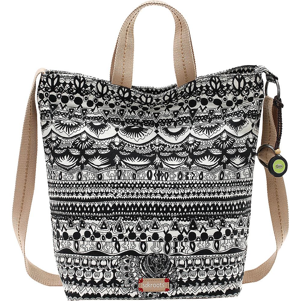 Sakroots Artist Circle Campus Tote Black & White One World - Sakroots Fabric Handbags - Handbags, Fabric Handbags