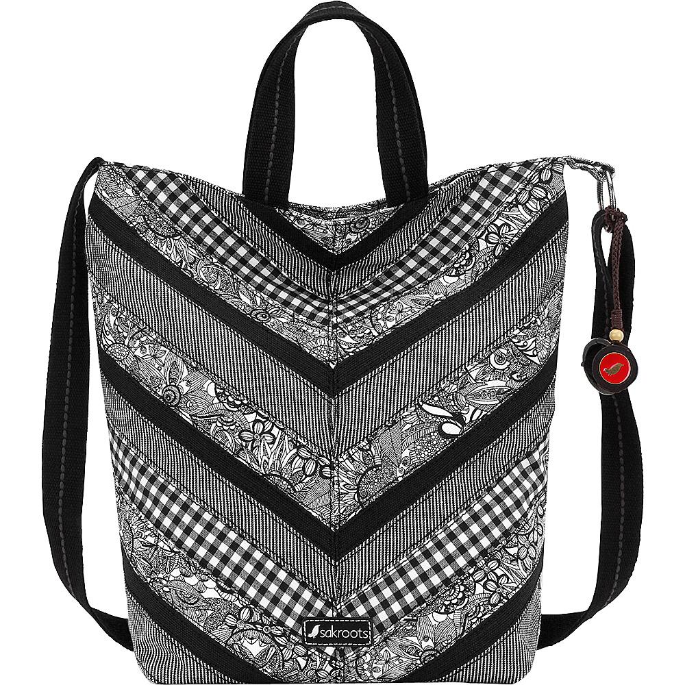 Sakroots Artist Circle Campus Tote Black & White Spirit Desert - Sakroots Fabric Handbags - Handbags, Fabric Handbags