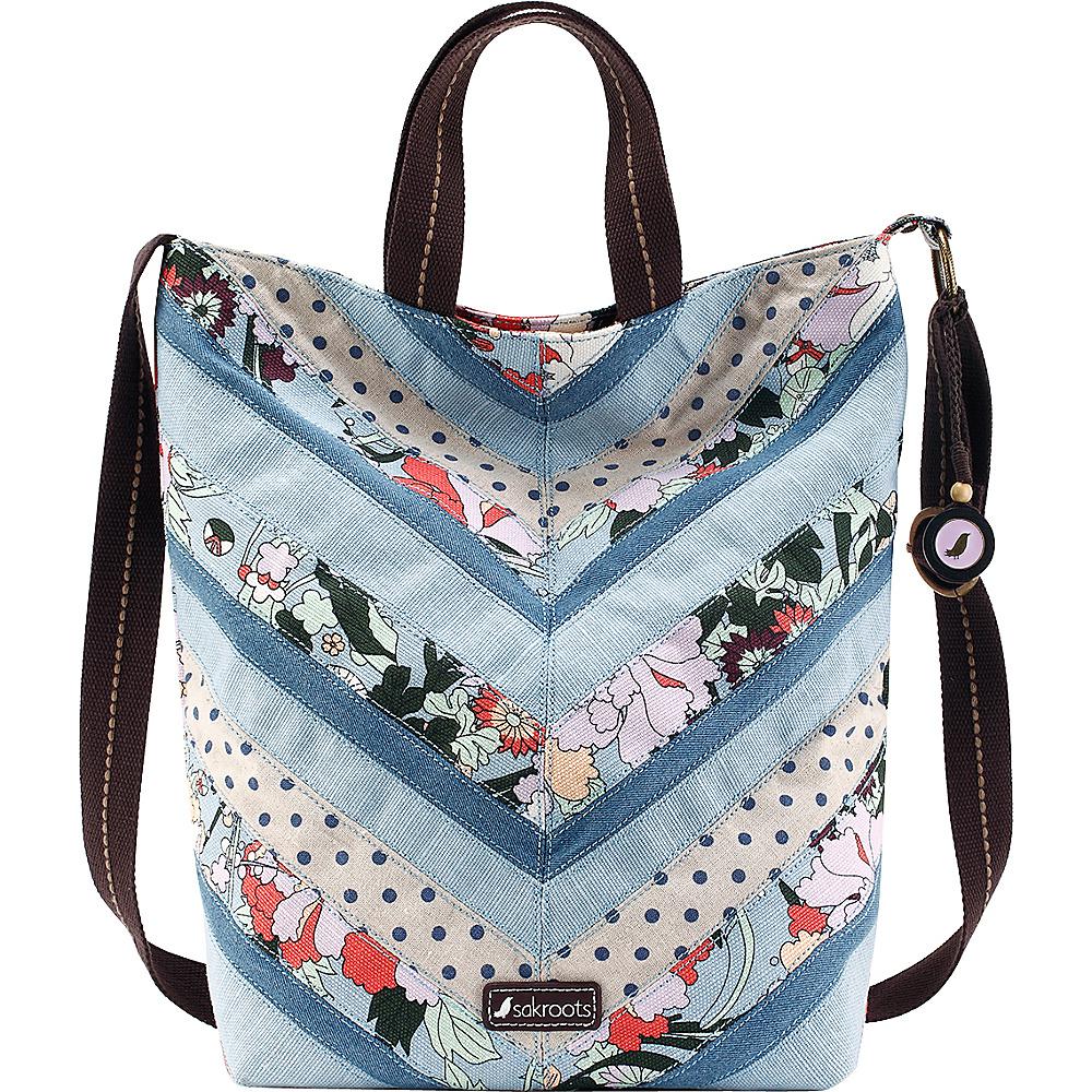 Sakroots Artist Circle Campus Tote Sky Blue Flower Power - Sakroots Fabric Handbags - Handbags, Fabric Handbags