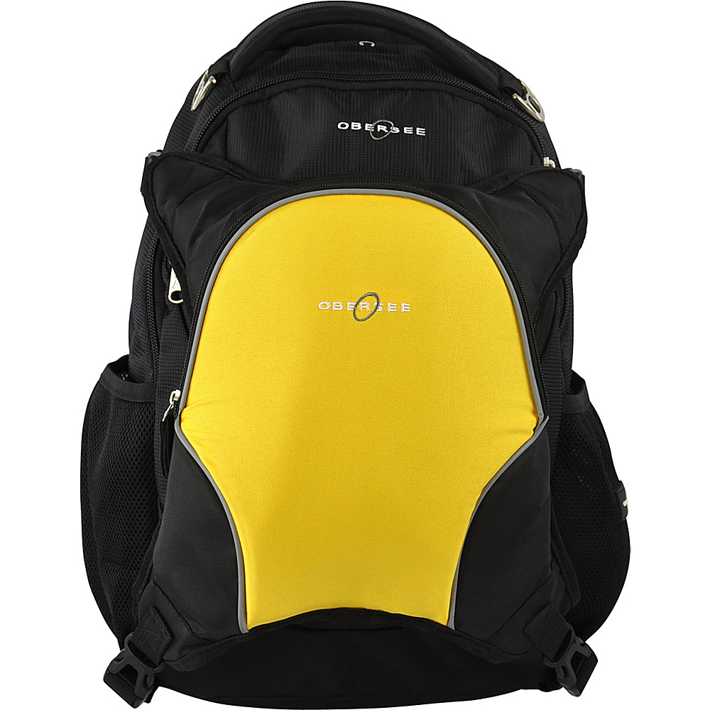 Obersee Oslo Diaper Bag Backpack and Cooler Black Yellow Obersee Diaper Bags Accessories