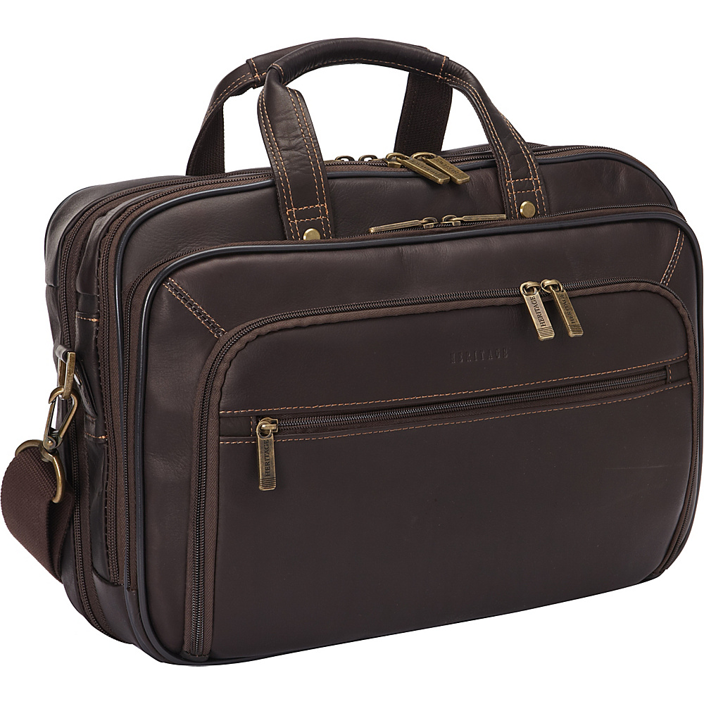 Heritage Colombian Leather Checkpoint Friendly Briefcase Brown Heritage Non Wheeled Business Cases