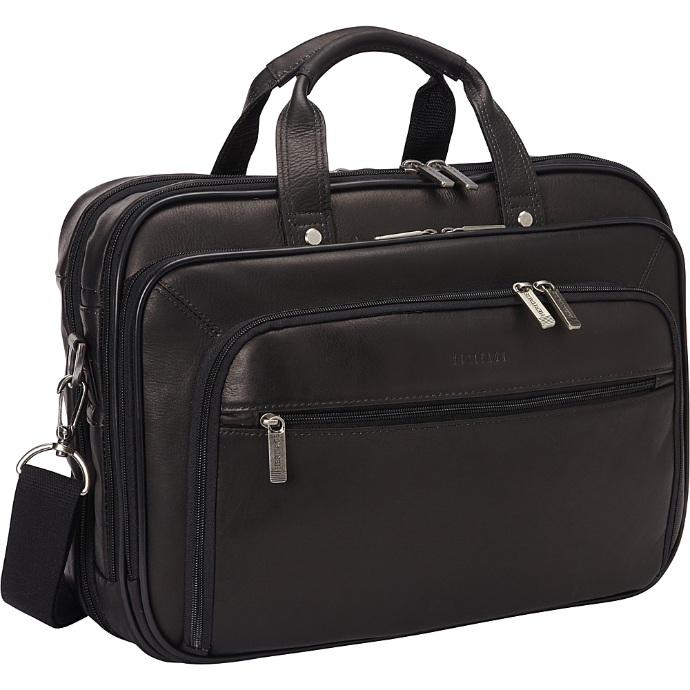 Heritage Colombian Leather Checkpoint-Friendly Briefcase Black - Heritage Non-Wheeled Business Cases