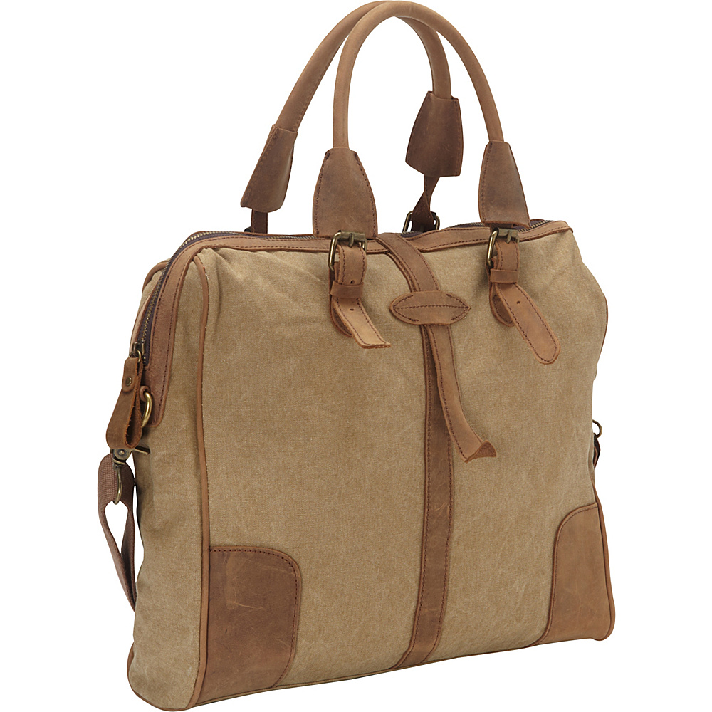Vagabond Traveler Casual Style Art Design Cowhide Cotton Canvas Shoulder Bag Khaki - Vagabond Traveler Messenger Bags - Work Bags & Briefcases, Messenger Bags