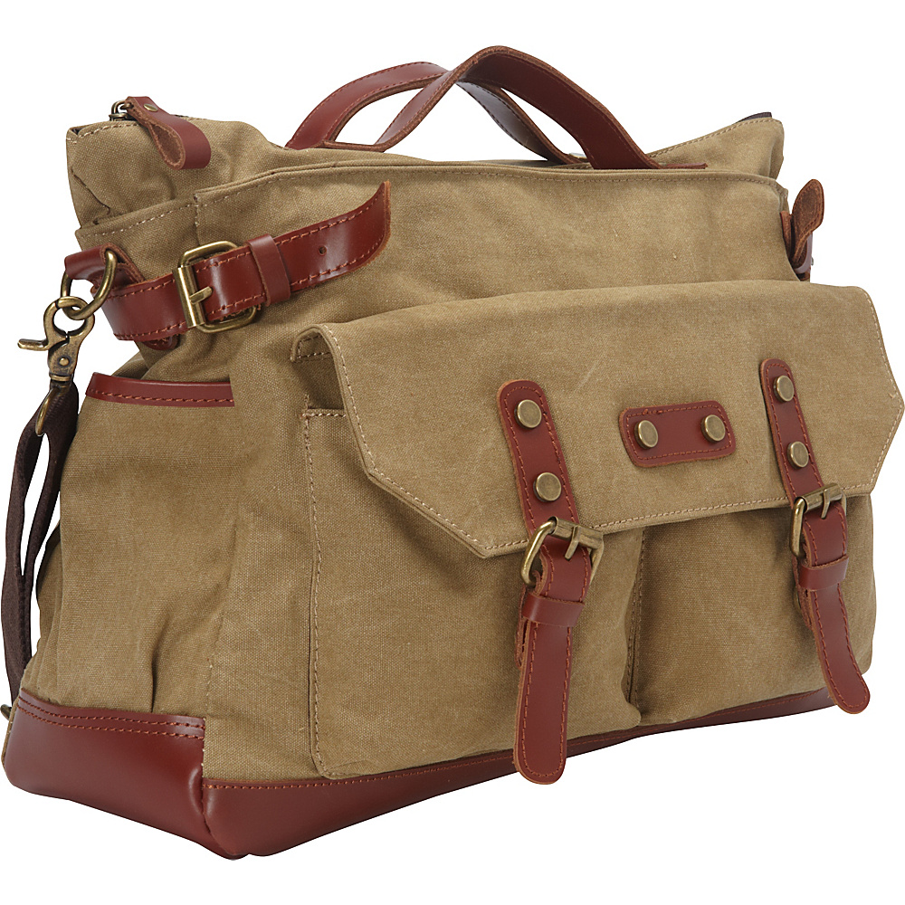 Vagabond Traveler Classic Antique Style Large Cotton Canvas Bag Khaki - Vagabond Traveler Messenger Bags - Work Bags & Briefcases, Messenger Bags