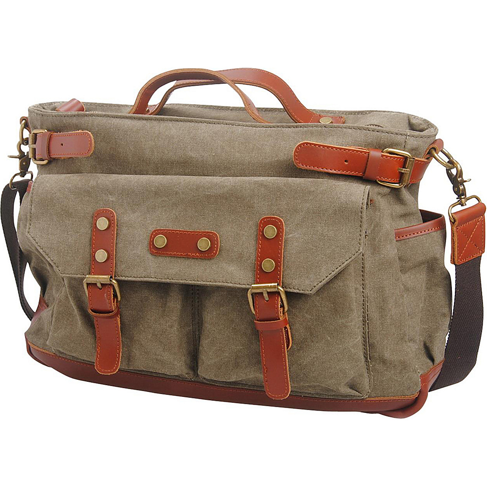 Vagabond Traveler Classic Antique Style Large Cotton Canvas Bag Military Green - Vagabond Traveler Messenger Bags - Work Bags & Briefcases, Messenger Bags