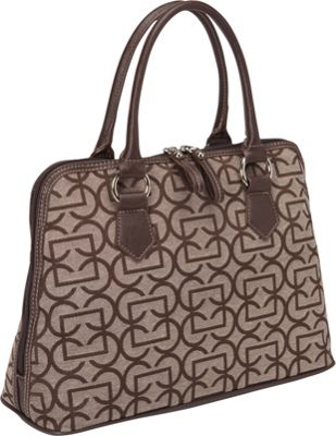 Aurielle-Carryland Geo Signature Dome Satchel Brown/Taupe - Aurielle-Carryland Fabric Handbags