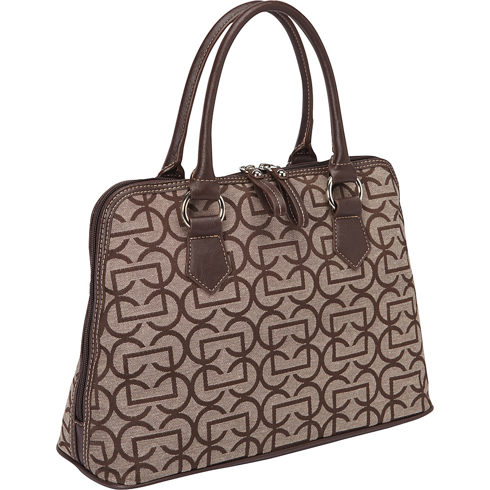 Aurielle Carryland Geo Signature Dome Satchel Brown Taupe Aurielle Carryland Fabric Handbags