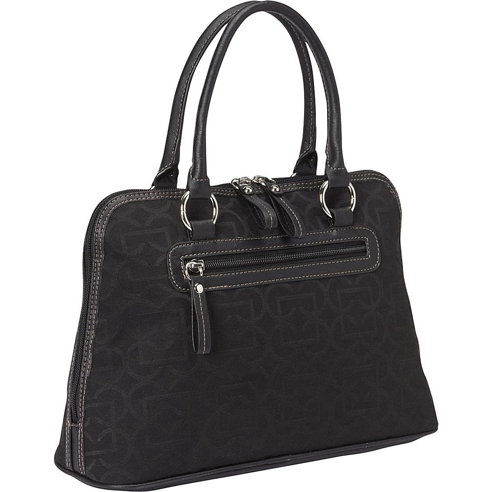 Aurielle Carryland Geo Signature Dome Satchel Black Aurielle Carryland Fabric Handbags