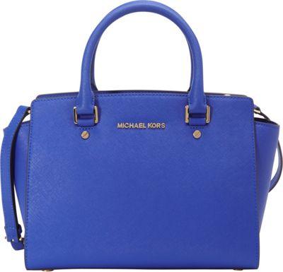 MICHAEL Michael Kors Selma Medium Top Zip Satchel Electric Blue - MICHAEL Michael Kors Designer Handbags