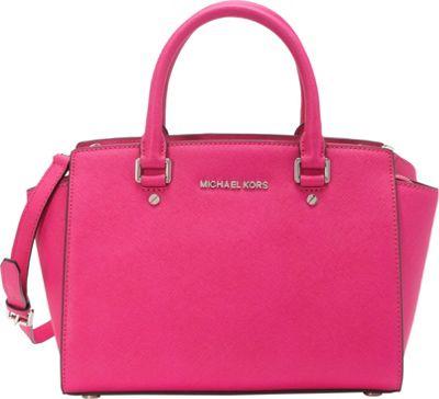 MICHAEL Michael Kors Selma Medium Top Zip Satchel Raspberry - MICHAEL Michael Kors Designer Handbags