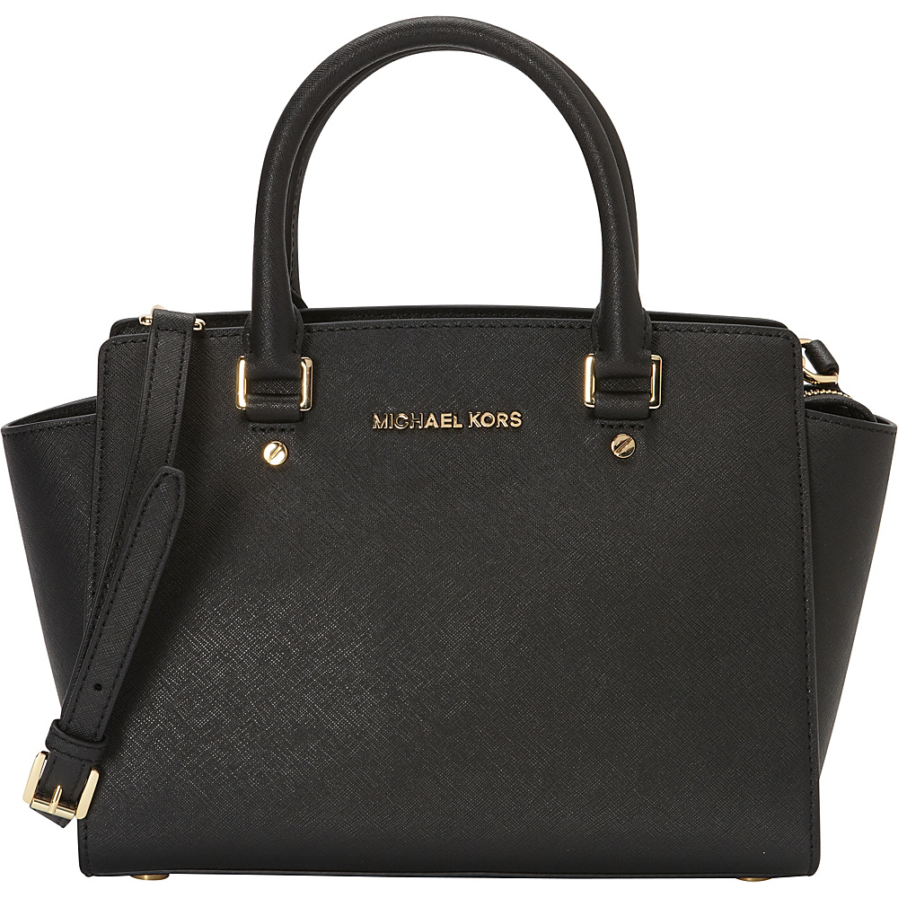 MICHAEL Michael Kors Selma Medium Top Zip Satchel Black MICHAEL Michael Kors Designer Handbags