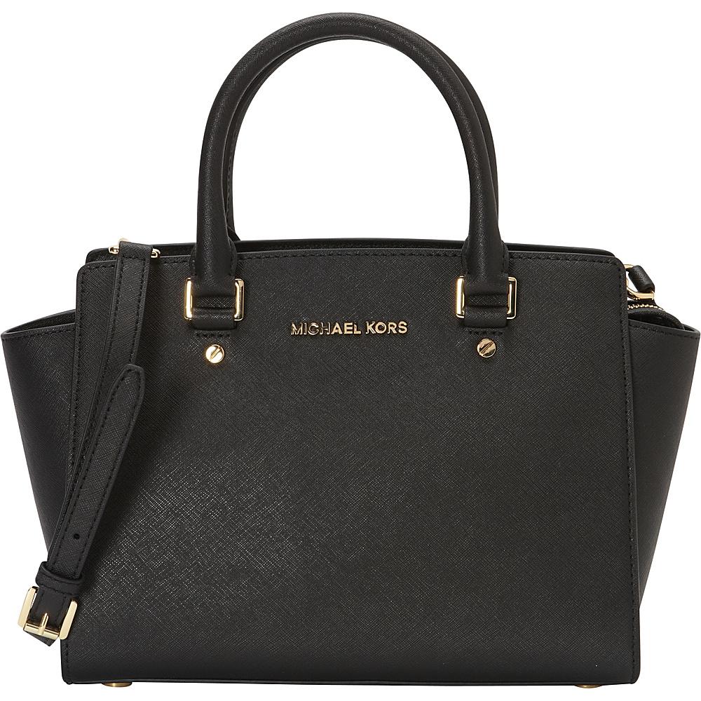 MICHAEL Michael Kors Selma Medium Top Zip Satchel Black - MICHAEL Michael Kors Designer Handbags