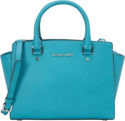 MICHAEL Michael Kors Selma Medium Top Zip Satchel Tile Blue - MICHAEL Michael Kors Designer Handbags