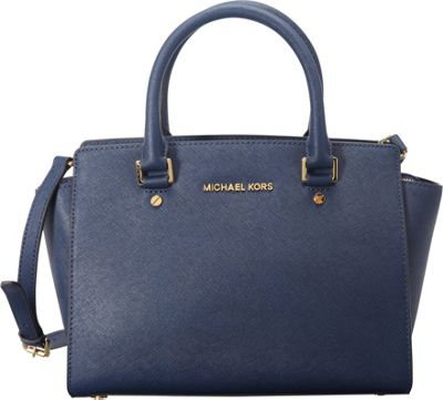 MICHAEL Michael Kors Selma Medium Top Zip Satchel Navy - MICHAEL Michael Kors Designer Handbags
