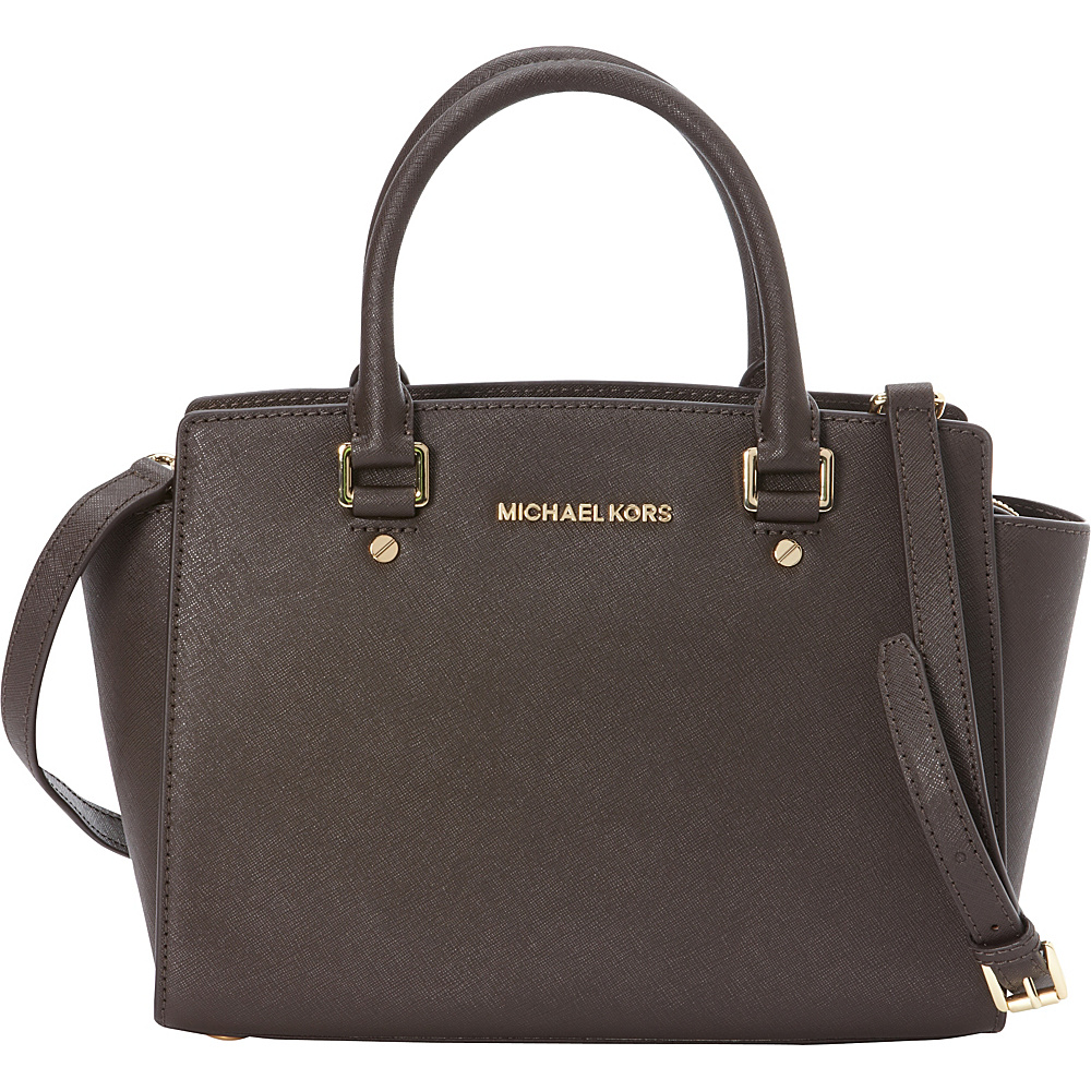 MICHAEL Michael Kors Selma Medium Top Zip Satchel Coffee MICHAEL Michael Kors Designer Handbags