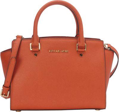 MICHAEL Michael Kors Selma Medium Top Zip Satchel Burnt Orange - MICHAEL Michael Kors Designer Handbags