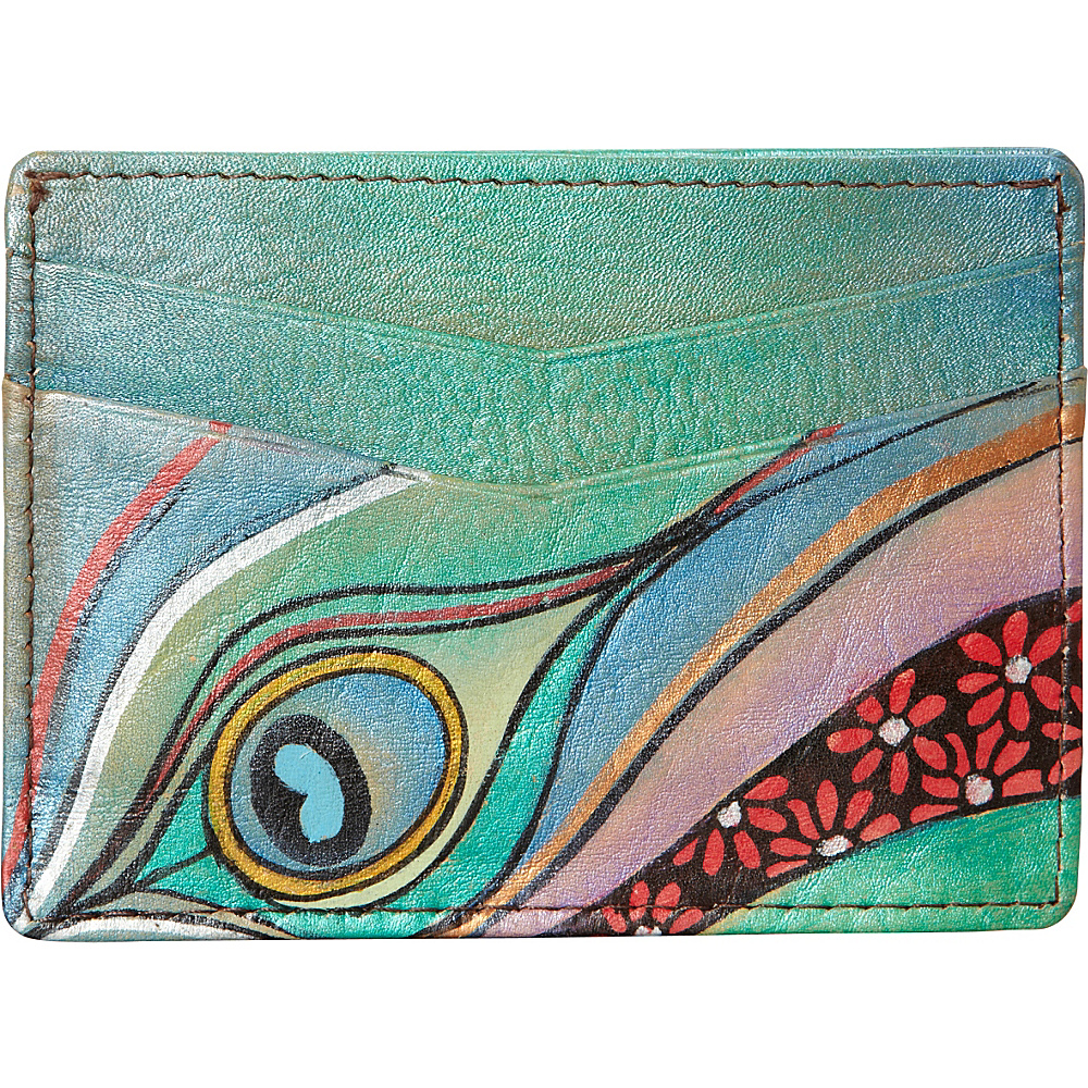 Anuschka Slim Credit Business Card Wallet Dancing Peacock - Anuschka Women's Wallets