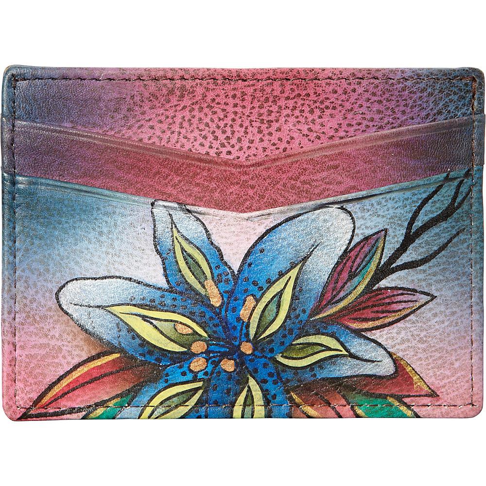 Anuschka Slim Credit Business Card Wallet Luscious Lilies Denim Anuschka Women s Wallets