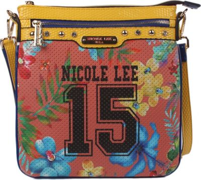 Nicole Lee Numeric 15 Print Cross Body Coral - Nicole Lee Manmade Handbags