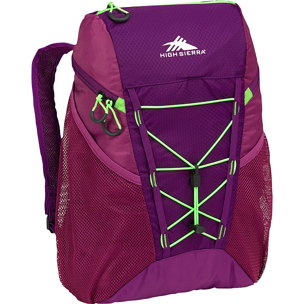 High Sierra 18L Packable Sport Backpack EGGPLANT/BERRY BLAST/LIME - High Sierra Lightweight Packable Expandable Bags