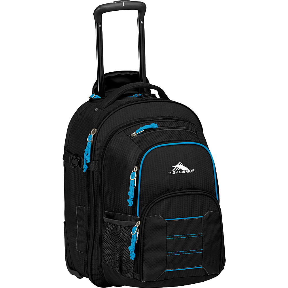 High Sierra Ultimate Access 2.0 Carry On Wheeled Backpack with removable daypack BLACK/BLUE PRINT - High Sierra Rolling Backpacks