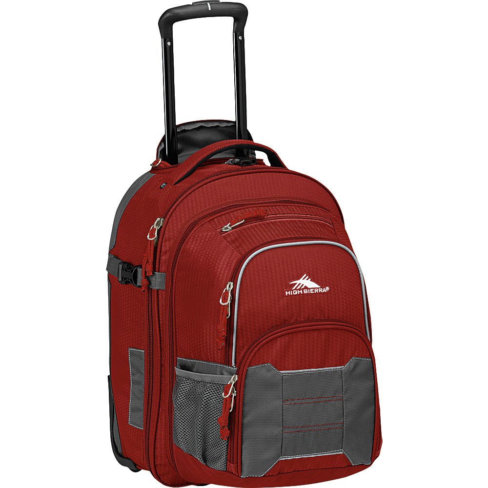 High Sierra Ultimate Access 2.0 Carry On Wheeled Backpack with removable daypack BRICK RED/MERCURY/SILVER - High Sierra Wheeled Backpacks